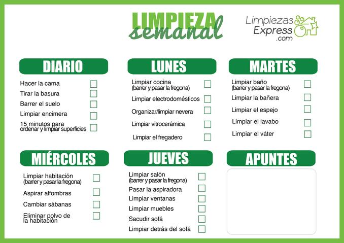 calendario de limpieza del hogar, calendario limpieza semanal, organizacion limpieza semanal,