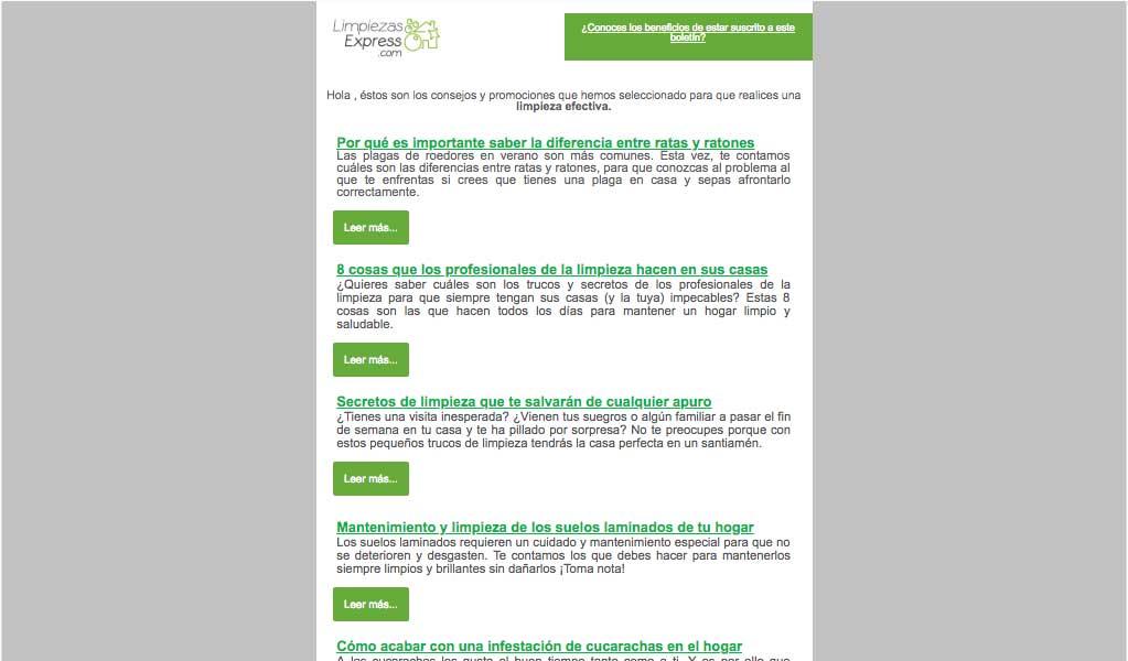 newsletter quincenal, promociones limpiezas express